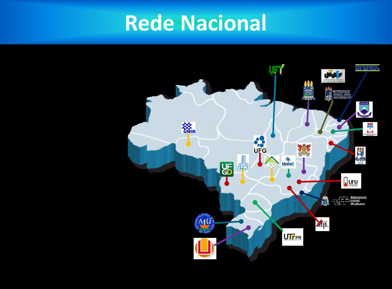 Mapa da distribuição da Rede Nacional